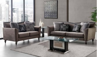 NEW 2 PCS GRAY VELVET SOFA AND LOVESEAT