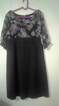 women's black white and purple floral dress