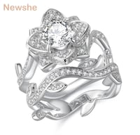 2.3 Carats 925 Sterling Silver Wedding Ring Set Flower Shape Engagement Band Classic Jewelry For Women Mississauga, L5J 2B6