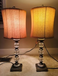 Two Decorative side table lamps with fabric shade Vienna, 22182