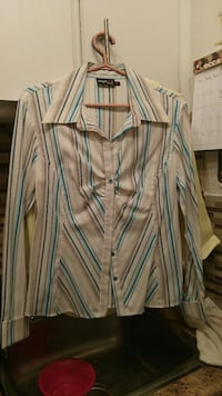 white, blue, and brown striped  blouse