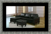 Black sectional with ottoman 20708, 20708