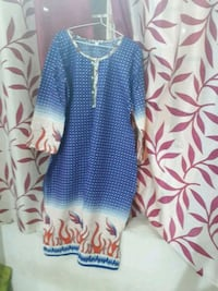 blue and white polka dot print dress