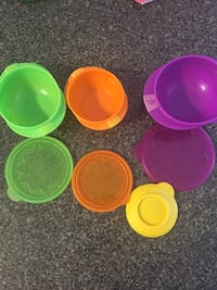 Bowls with leak proof lids and add on suction to stick to