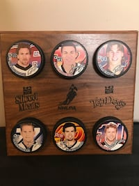 NHLPA Top Dogs Hockey Plaque Top 6 Players-Linden, Iginla, Smyth, Roberts,Lalime, Koivu.  Collectible Pucks on a wooden plaque.  VIEW MY OTHER ADS!! Toronto