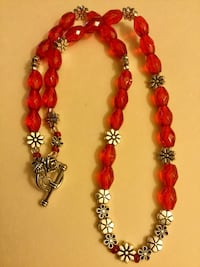 Ruby Red crystal and glass beads and silver floral beaded necklace / Silver Rose toggle clasp Alexandria, 22311