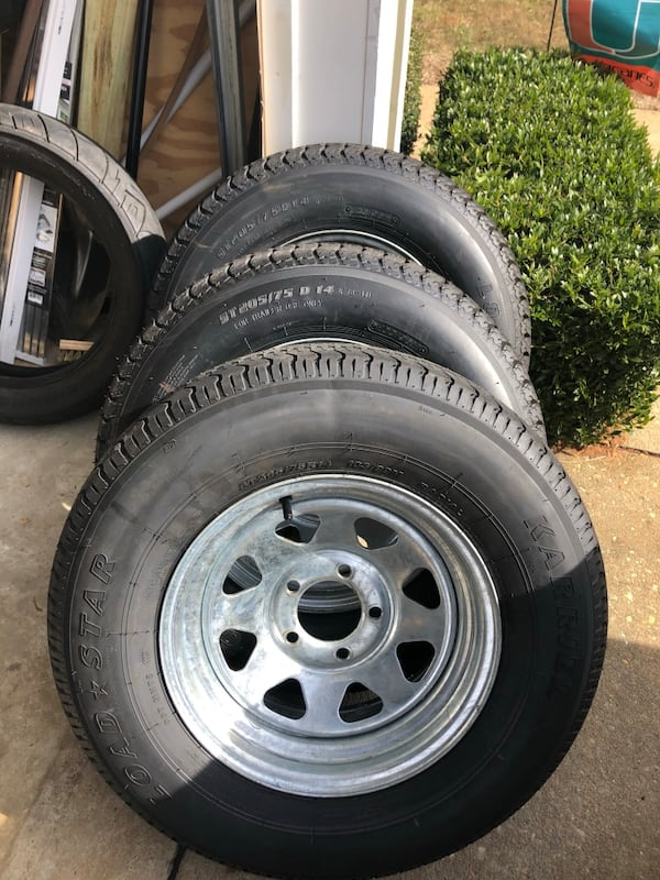 ST205/74R14 radial trailer tire with galvanized rims 5x4.5 1