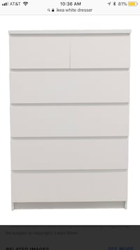 white wooden 5-drawer tallboy dresser Arlington, 22209