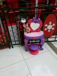 Minnie mouse table with mirror and chair