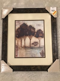 Tree wall decor with brown frame