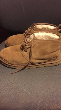 pair of brown UGG suede chukka boots