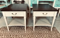 Pair of midcentury antique linen solid wood end tables nightstands Kensington, 20895