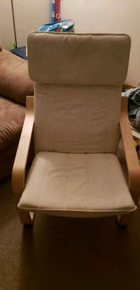 brown wooden frame white padded armchair Catonsville