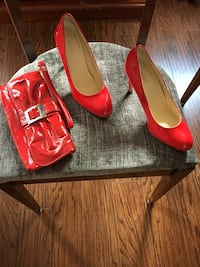 Red purse and red leather patten shoes size 7