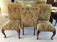6 brown wooden framed floral padded armchairs CAPECORAL