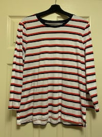Women's Large Striped Baseball Tee
