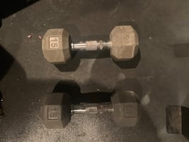 Rubber 15 lb dumbbells