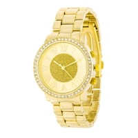 Roman Numeral Goldtone Watch With Crystals Torrance, 90501