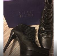 Pair of black stuart weitzman leather heel booties Toronto, M6M 2E5