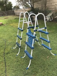 two white and blue above ground pool ladders Amarillo, 79107