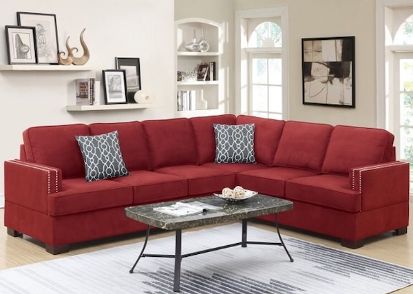 BEAUTIFUL 2 PCS MICROFIBER RED SECTIONAL SOFA W/2 ACCENT PILLOWS &  REVERSIBLE L/R LOVE SEAT WEDGE. *(Take it home TODAY with only $49 Dlls -  Ask for ...
