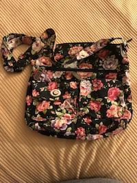 Black and pink floral handbag Mystic, 06355