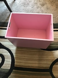 Pink and white wooden 2-drawer chest