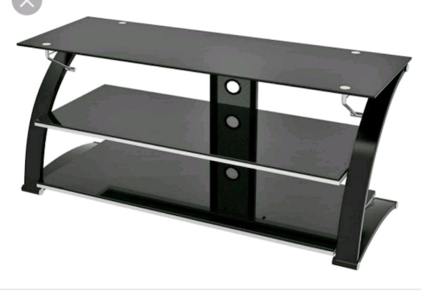 100% authentic d90bc b6af9 Black Metal Tempered Glass TV Stand