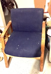 STURDY solid wood arm chair blue seat Oceanside, 92056