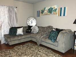 Gray Sectional Couch/ Accent Chair/ End Tables/ lamps obo