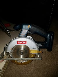 black and blue Ryobi circular saw