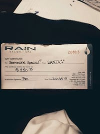$250 Rain salon and spa gift certificate