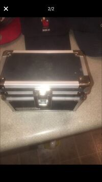 black and silver luggage bag