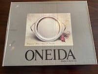 Oneida Ridgewood Round Tray with Handles 14.5 inches Silver Plated Reston, 20191