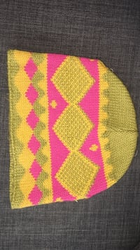 Pink and yellow tribal print beanie hat