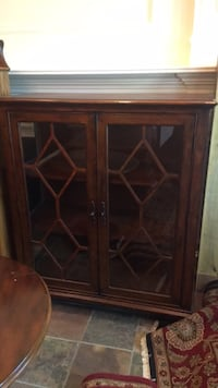 brown wooden framed glass cabinet Plano, 75093