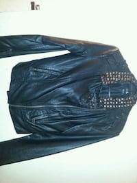 black leather zip-up jacket Toronto, M4C 1M2