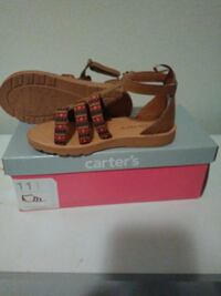 brown-and-red Carter's T-strap open toe flat sanda Comstock Park, 49321