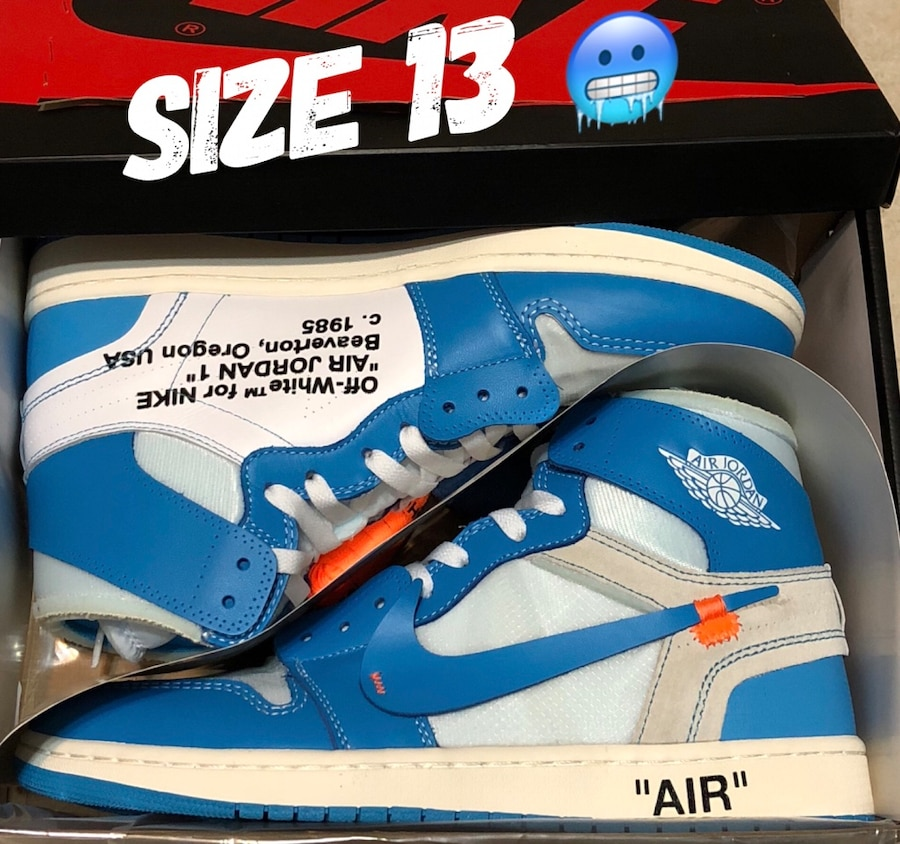air jordan 1 retro high off-white university blue unc