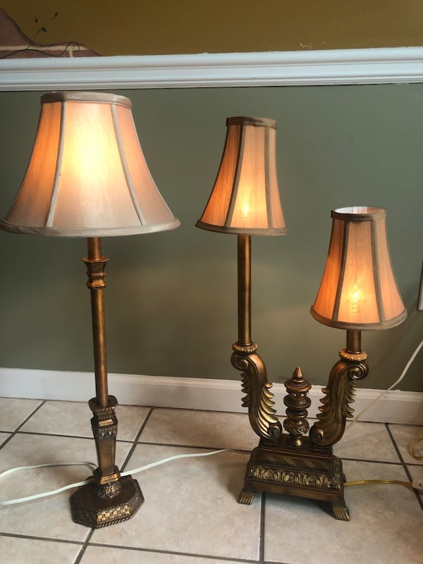 Pair of gold lamps with shades & bulbs 0