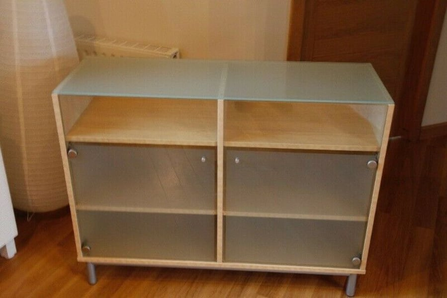 Now or never IKEA glass and beech sideboard cabinet Besta fb2bead4-5d58-4758-80ad-be7c1472fafa