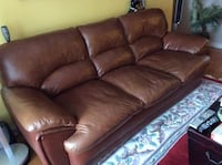 Brown leather 3-seat sofa Greater Vancouver, V6S