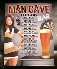 Man Cave Rules Bar Metal Sign
