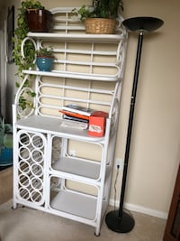 White wicker/rattan bakers rack Rockville