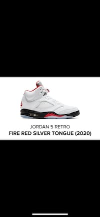 DS jordan retro 5 fire red silver