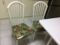 White and green floral padded chair, steel frames Vaughan, L4L