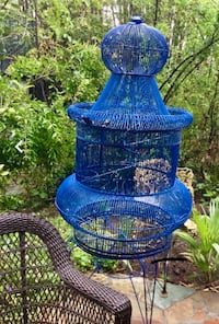BEAUTIFUL giant oversized Cobalt BLUE wire metal BIRDCAGE from celebrity estate sale in BH Temescal, 92883