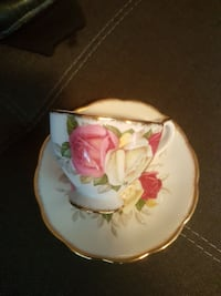 white floral ceramic tea cup and saucer Victoria, V9A 1N5