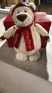 White and red teddy bear with box Bedford, 47421