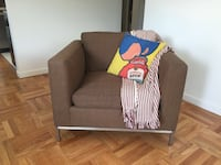 Arm chairs x 2 brown, feather down cushions, custom made. Vancouver, V6K 1C7